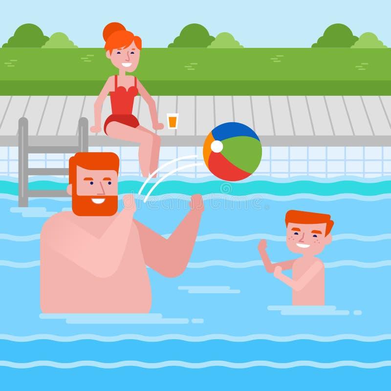 Glückliche kaukasische Familie, die Spaß im Swimmingpool hat lizenzfreie abbildung