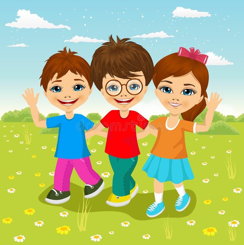 Glückliche kaukasische Kinder, die zusammen gehen lizenzfreie abbildung