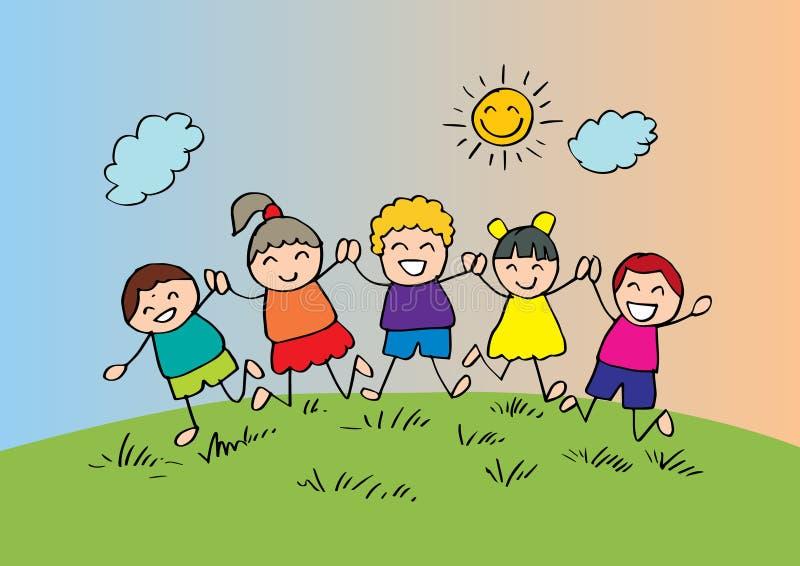 Glückliche Kinder der Karikatur, die zusammen spielen vektor abbildung