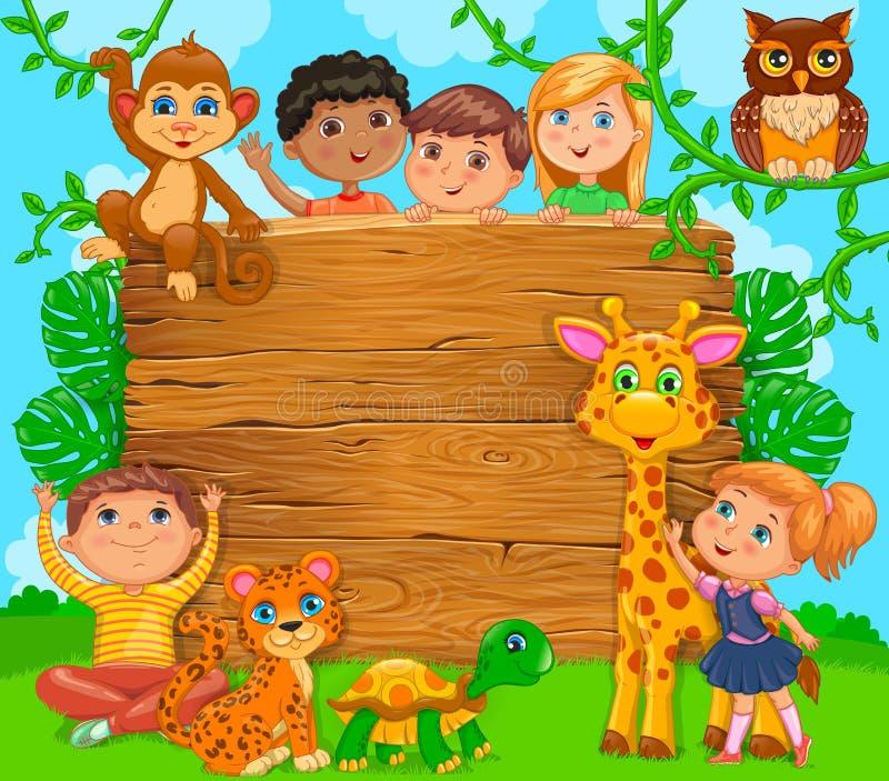 Glückliche Kinder der Karikatur mit Tier Hölzerne Fahne Vektor illustrat vektor abbildung