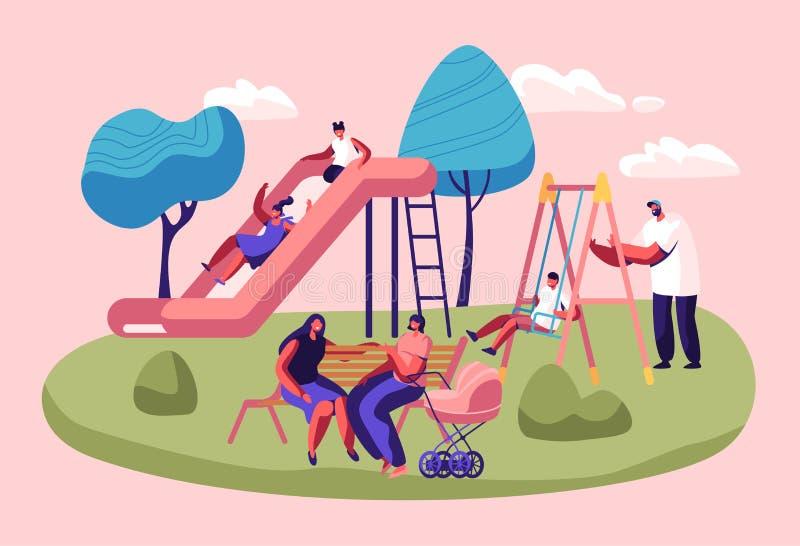 Glückliche Kinder, die den Spaß schiebt auf Spielplatz im Freien haben Kinderlächeln, spielend auf Dia, aktive Spiele auf Straße  lizenzfreie abbildung