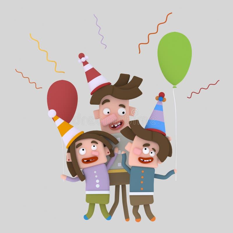 Glückliche Kinder, die den Tag der fatherÂs feiern vektor abbildung