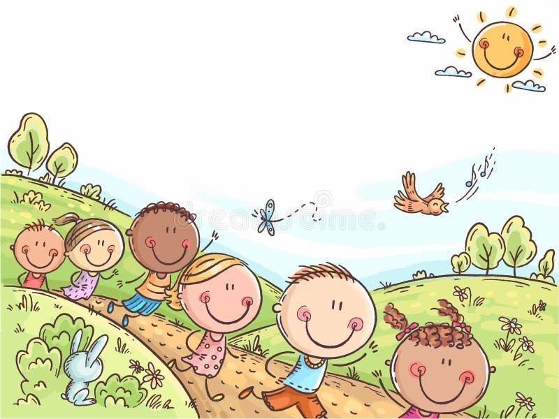 Glückliche Kinder, die draußen an einem Sommertag, bunter Hintergrund mit einem Kopienraum laufen stock abbildung