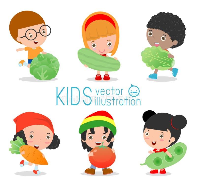 Glückliche Kinder, die lächelndes Livegemüse, Kinder und Gemüse, gesundes Kinderlebensmittel halten stock abbildung