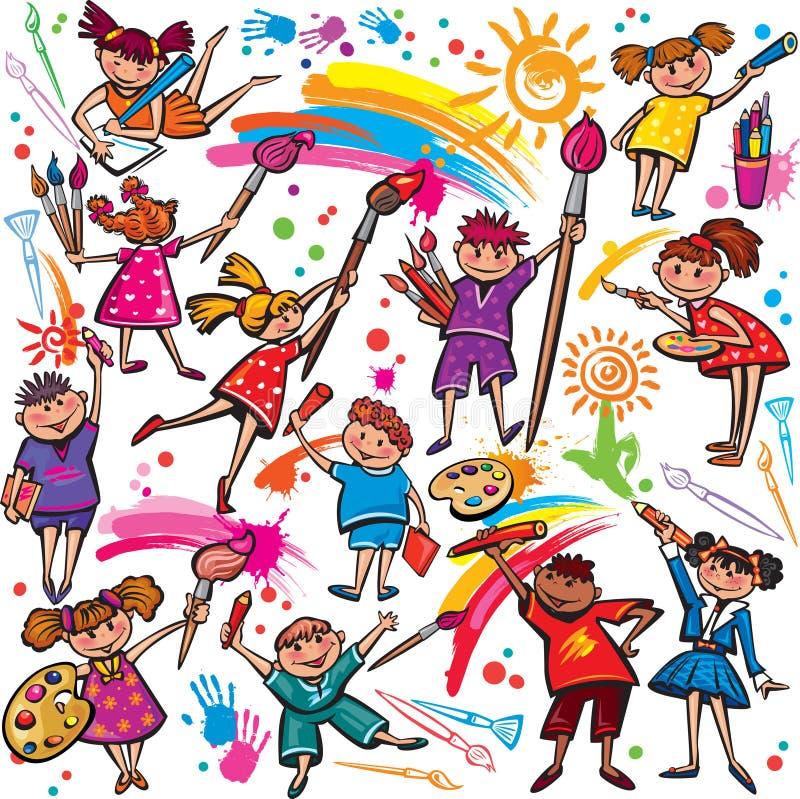 Glückliche Kinder, die mit Bürste und Zeichenstiften zeichnen vektor abbildung