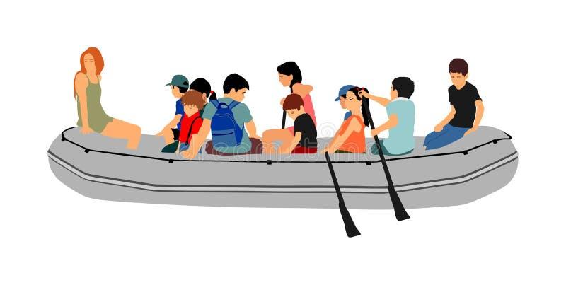 Glückliche Kinder, die mit Gummibootsvektor flößen Spaß am Strand Mädchen und Jungen, die das Rudern auf Fluss auf aufblasbarem B lizenzfreie abbildung