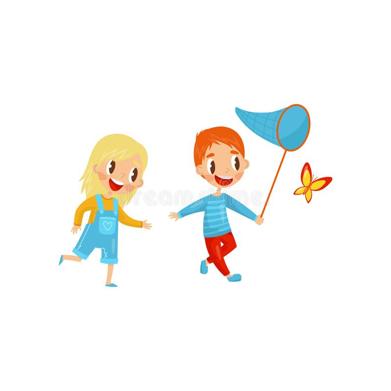Glückliche Kinder, die Schmetterling fangen Netter Junge und Mädchen Aktive Sommererholung Im Freienaktivität Flaches Vektordesig lizenzfreie abbildung