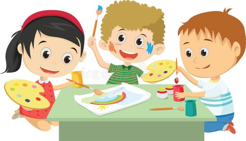 Glückliche Kinder, die zusammen lokalisiert auf Weiß zeichnen lizenzfreie abbildung