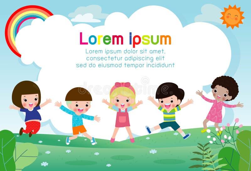 Glückliche Kinder, die zusammen, Kinder spielen auf Sommerhintergrund, Schablone für Werbungsbroschüre, Ihr Text springen und tan stock abbildung