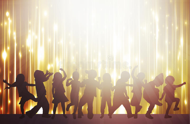 Glückliche Kinder, die zusammen tanzen lizenzfreie abbildung