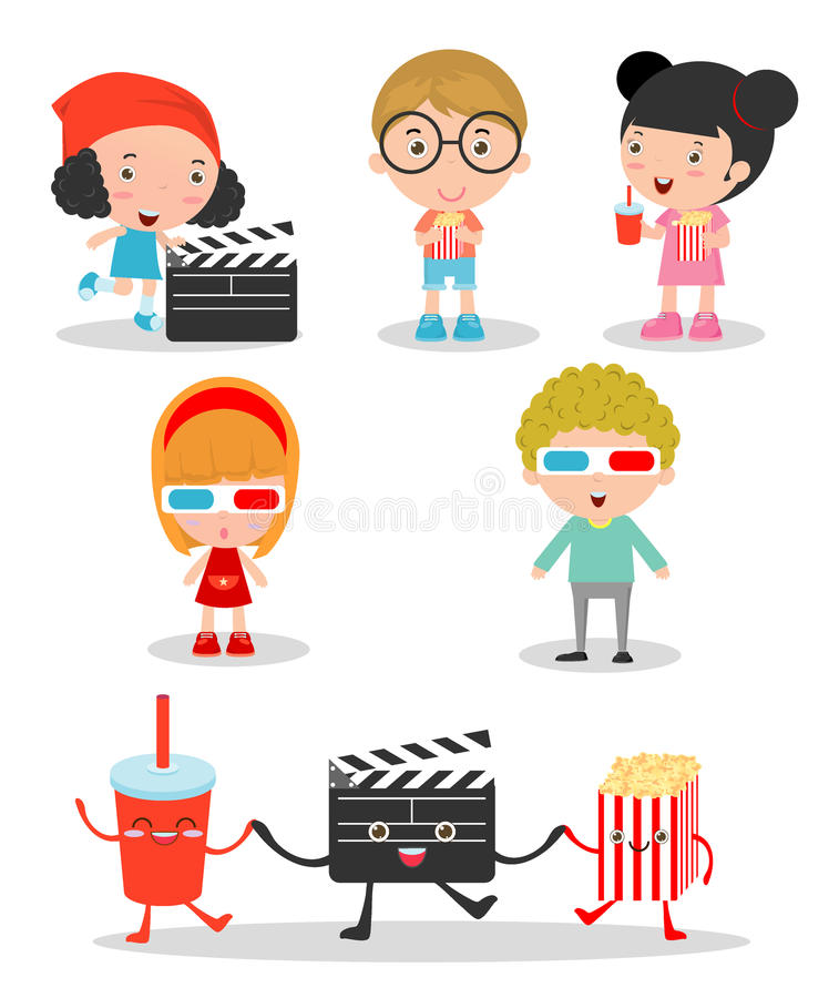 Glückliche Kinder, die zusammen zu einem Film gehen vektor abbildung
