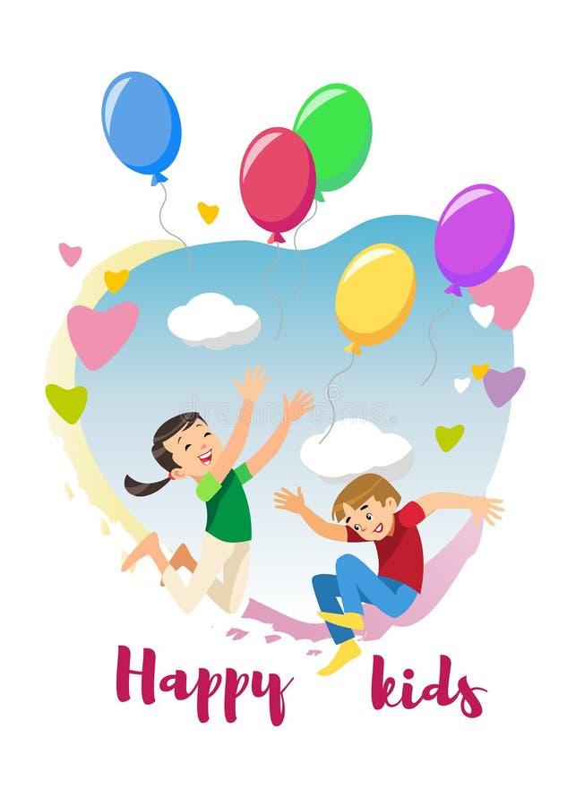 Glückliche Kinder freuen sich Feiertags-Karikatur-Vektor-Konzept lizenzfreie abbildung
