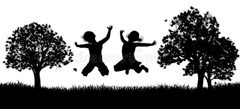 Glückliche Kinder im Park-Schattenbild stock abbildung