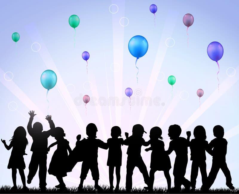 Glückliche Kinder mit Ballonen lizenzfreie abbildung
