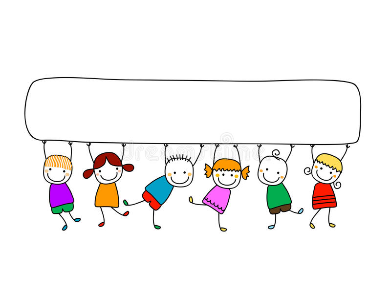 Glückliche Kinder mit Fahne lizenzfreie abbildung