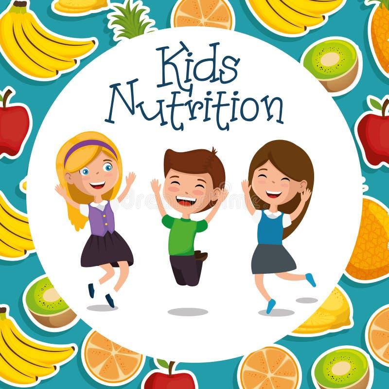 Glückliche Kinder mit Nahrungslebensmittel lizenzfreie abbildung