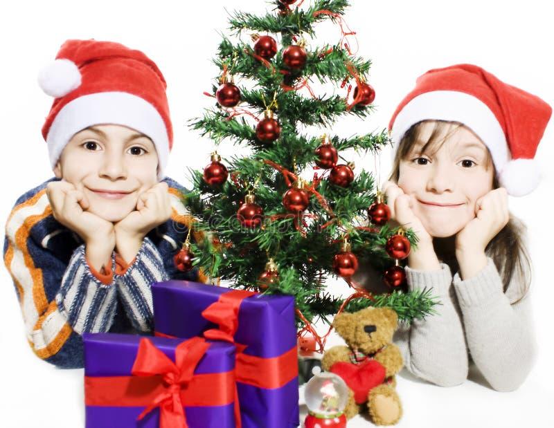 Glückliche Kinder mit Sankt-Hüten und Weihnachtsbaum lizenzfreie stockfotografie