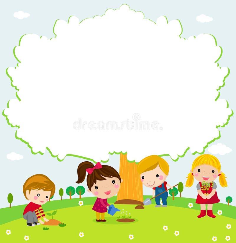 Glückliche Kinder und Baum lizenzfreie abbildung