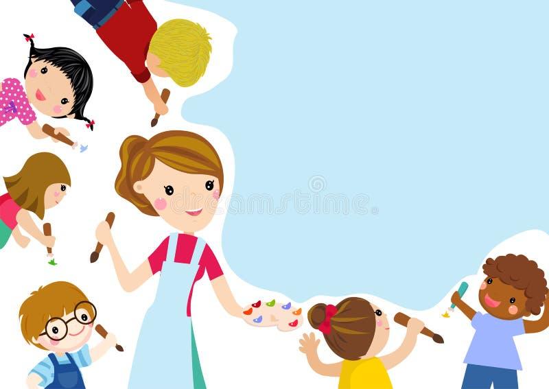 Glückliche Kinder und Fahne vektor abbildung