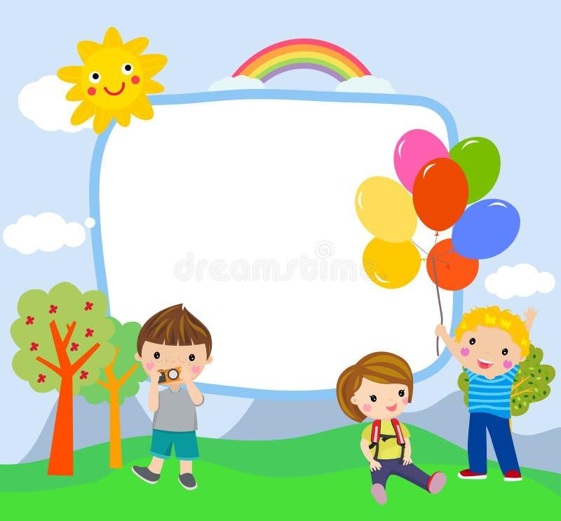 Glückliche Kinder und Fahne lizenzfreie abbildung