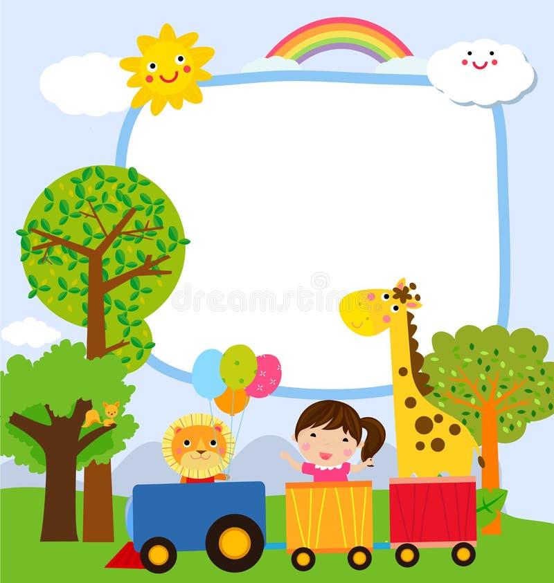 Glückliche Kinder und Fahne stock abbildung