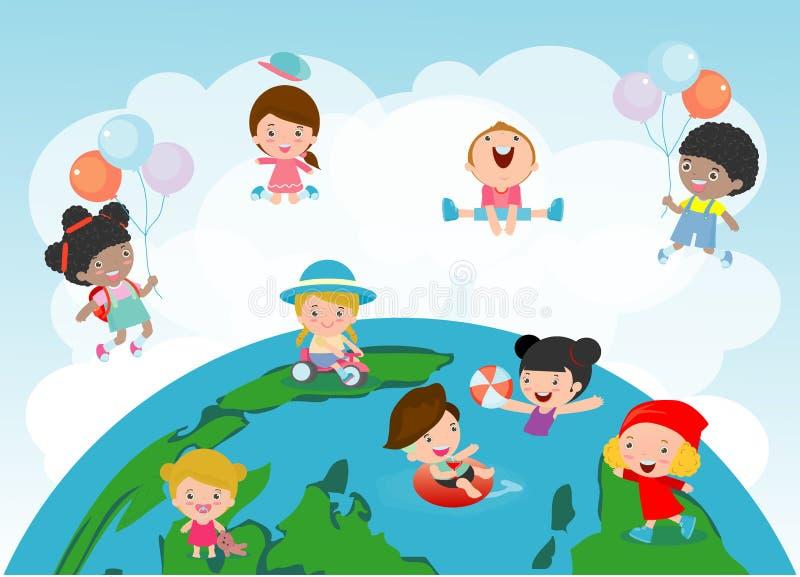 Glückliche Kinder von verschiedenen Nationalitäten auf einer Kugel, Gruppe Kinder, die auf eine Kugel, Vektorillustration spielen stock abbildung