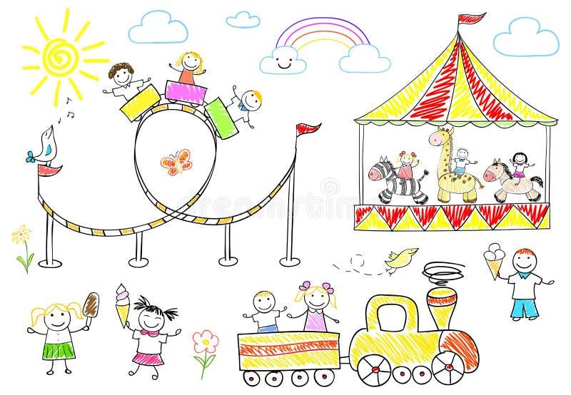 Glückliche Kinderfahrt auf das Karussell lizenzfreie abbildung