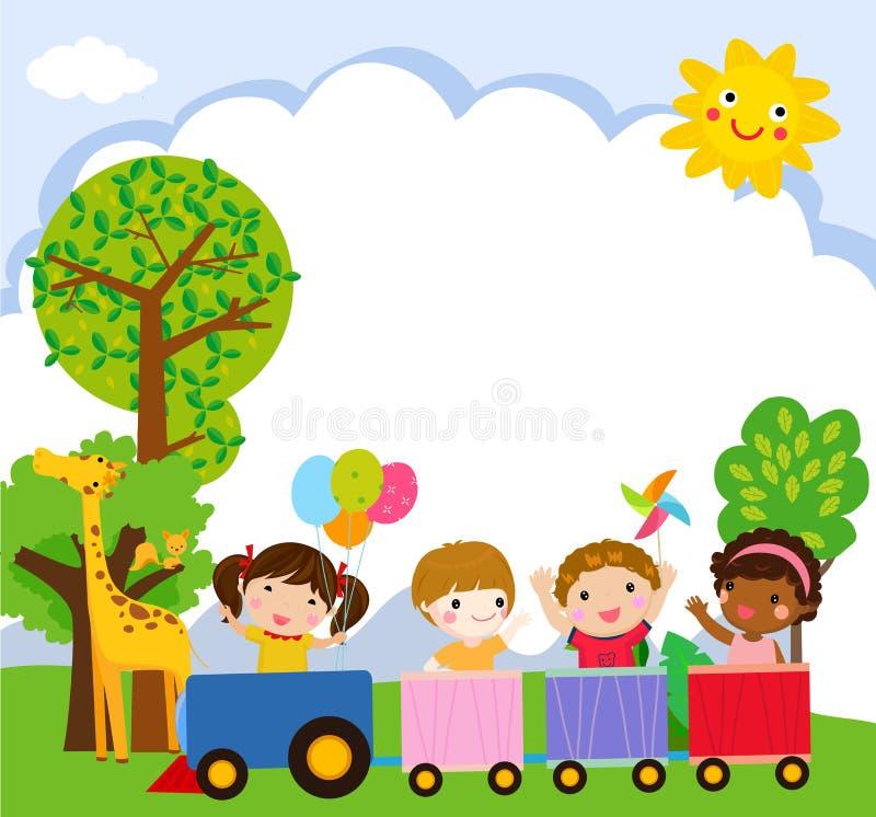 Glückliche Kinderkarikatur auf einem bunten Zug lizenzfreie abbildung