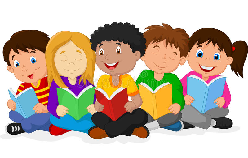 Glückliche Kinderkarikatur, die auf dem Boden während Lesebücher liegt