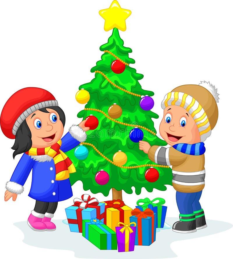 Glückliche Kinderkarikatur, die einen Weihnachtsbaum mit Bällen verziert vektor abbildung