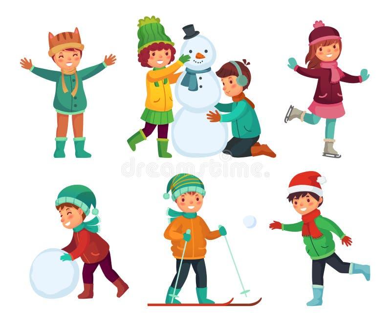 Glückliche Kinderwinterbetriebe Kinder, die mit Schnee spielen Karikaturkindercharaktere in den Winterhüten vector Sammlung vektor abbildung