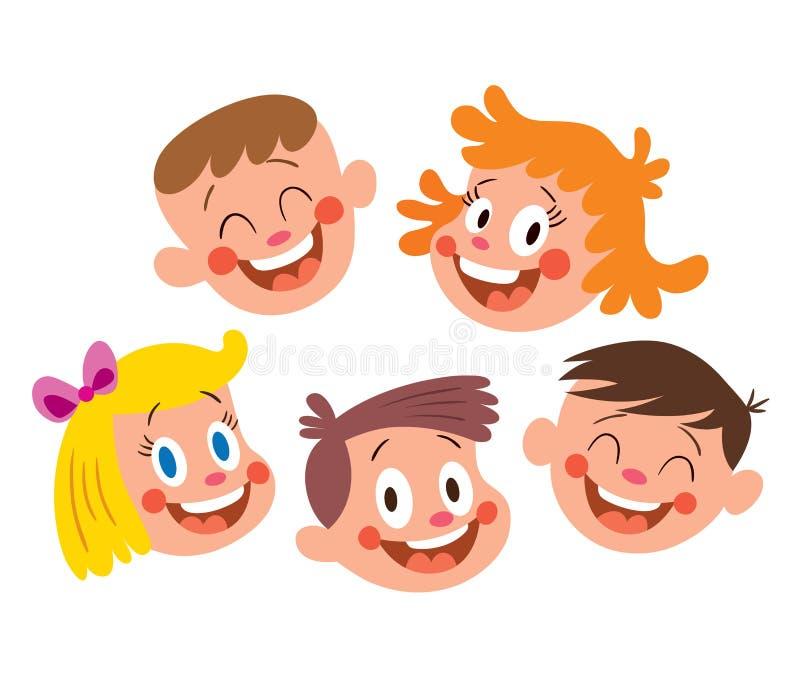 Glückliche Kindgesichter lizenzfreie abbildung