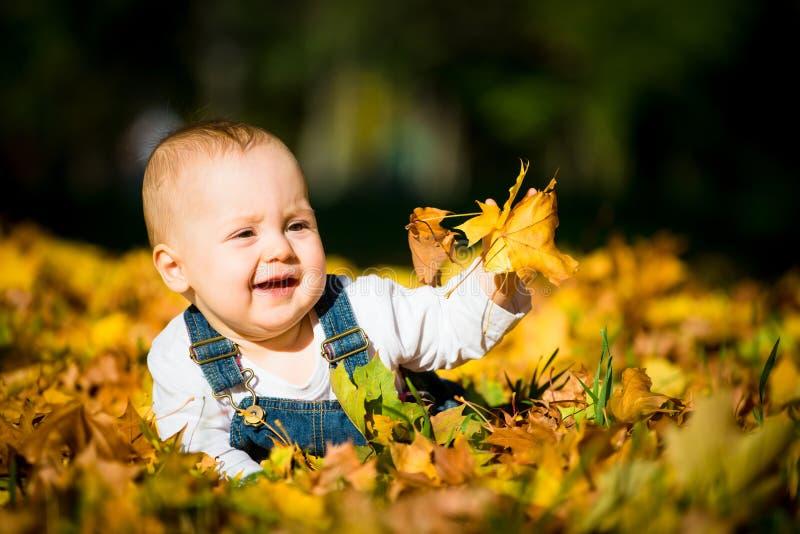 Glückliche Kindheit - sonniger Tag des Herbstes stockbild