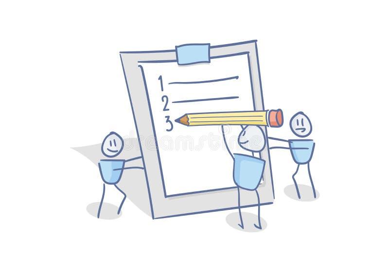 Glückliche kleine Charaktere, das Füllen im Team bearbeitend, um Listenplaner zu tun Gekritzelillustration für Geschäft und ander vektor abbildung