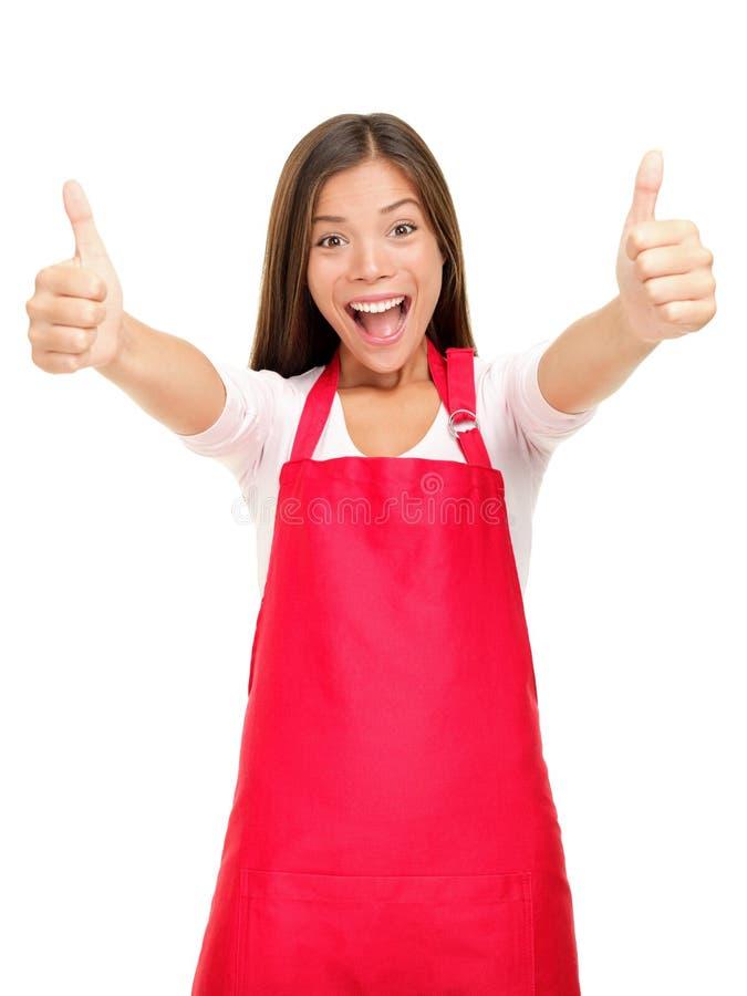 Glückliche kleine Geschäftseigentümer erregt stockbilder