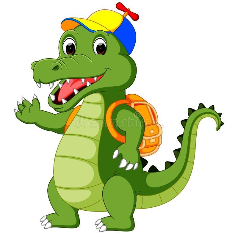 Glückliche Krokodilkarikatur, die zur Schule geht