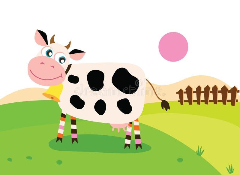 Glückliche Kuh auf Wiese vektor abbildung