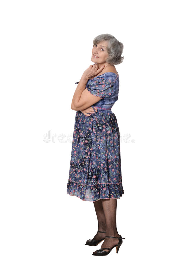 Glückliche lächelnde ältere Frau stockfotos