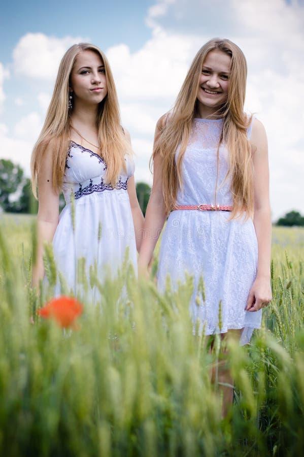 2 glückliche lächelnde blonde Freundinnen der jungen Frauen, die auf dem grünen Gebiet gehen u. draußen Kamera über blauem Himmel stockbilder