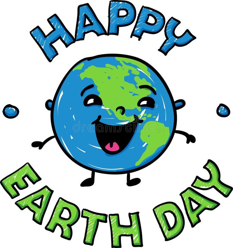 Glückliche lächelnde Erdkugel für glücklichen Tag der Erde - Handgezogene Vektorillustration stock abbildung