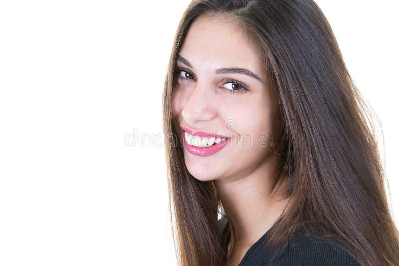 Glückliche lächelnde Frau lokalisiert auf weißem Hintergrund lizenzfreies stockfoto