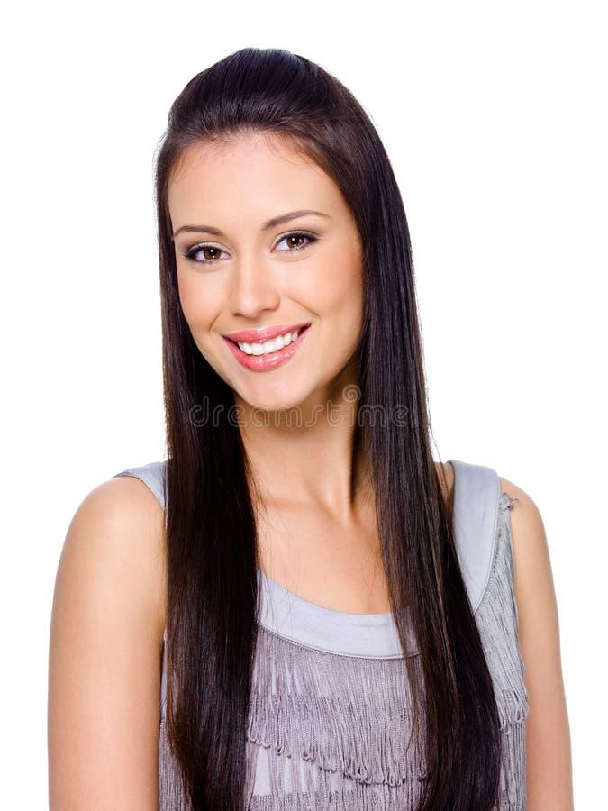 Glückliche lächelnde Frau mit dem langen Haar stockfotos