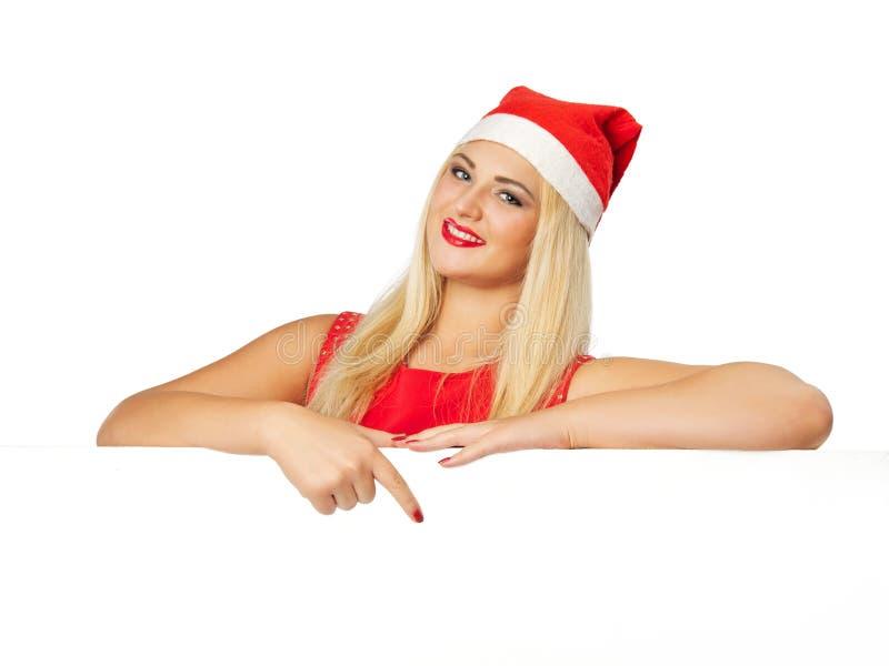 Glückliche lächelnde Frau mit weißem leerem Brett lizenzfreies stockbild