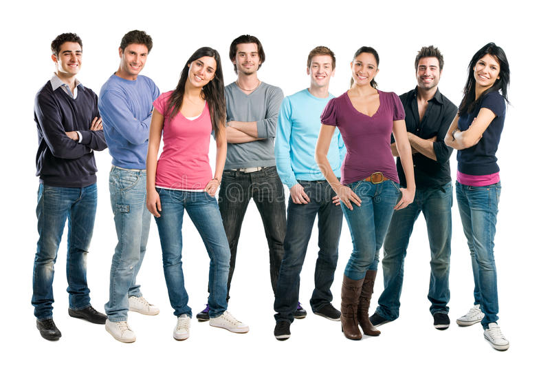 Glückliche lächelnde Gruppe Freund-Stellung stockbild