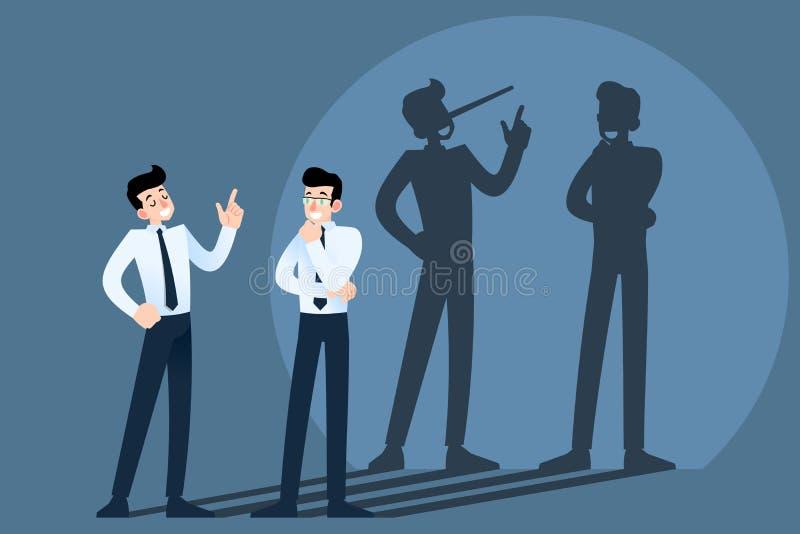 Glückliche lächelnde Lügen, Betrüger, Hokuspokusgeschäftsmanncharakter, der vor der Wand mit Schatten seiner langen Nase plaudert stock abbildung