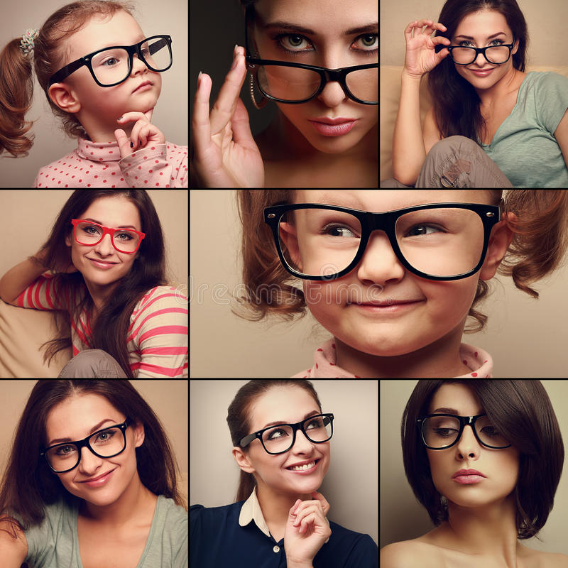 Glückliche lächelnde Porträtcollagensammlung von den Leuten beim Glasschauen Modeart des unterschiedlichen Hintergrundes lizenzfreies stockbild