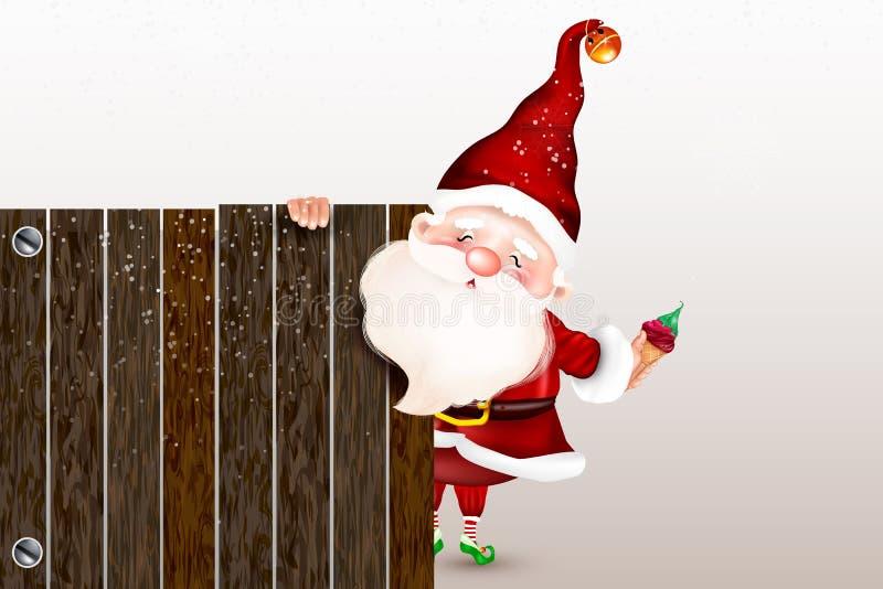 Glückliche lächelnde Santa Claus, die hinter einem leeren Zeichen, ein großes Holzschild zeigend steht Sankt Klaus, Himmel, Frost stock abbildung
