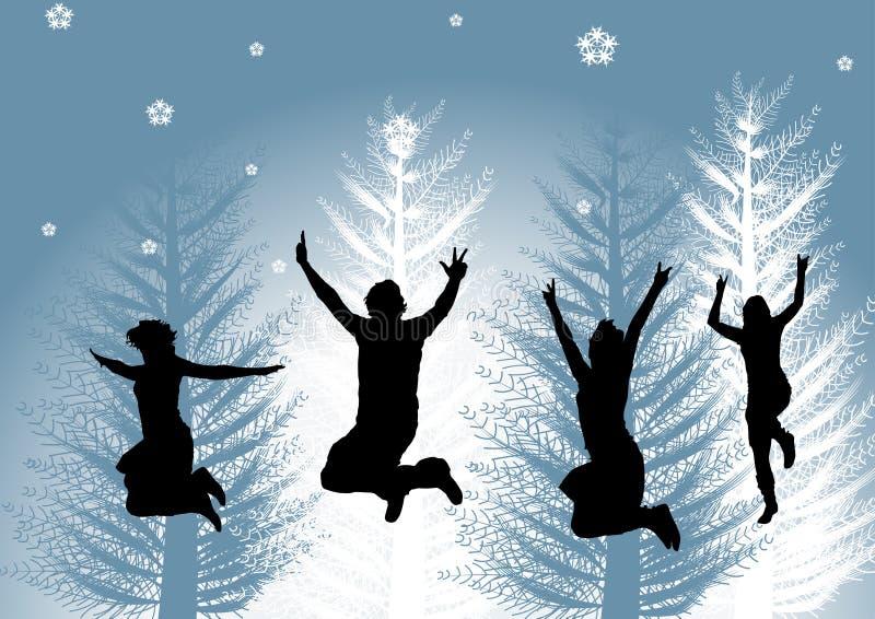 Glückliche Leute im Winter stock abbildung