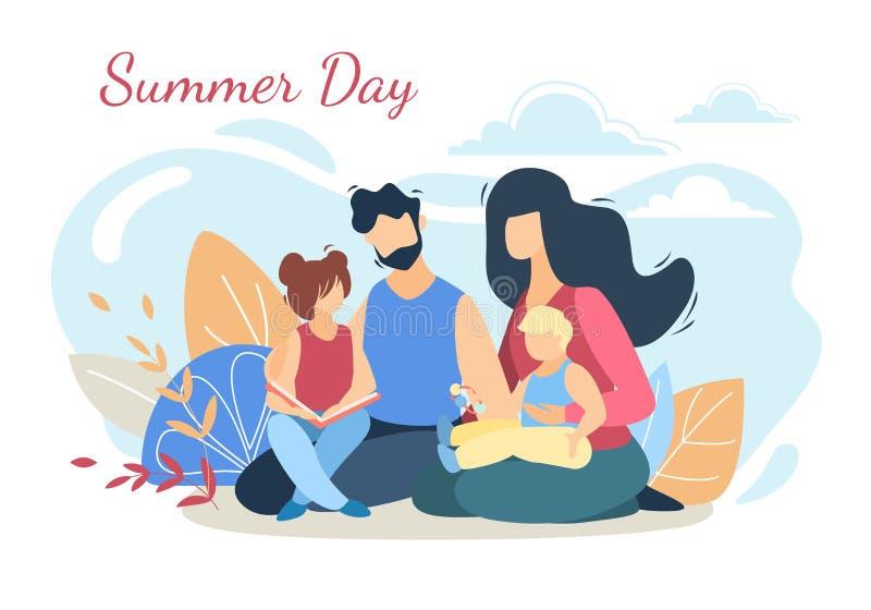 Glückliche liebevolle Familie auf Picknick an der Sommer-Tagesnatur vektor abbildung