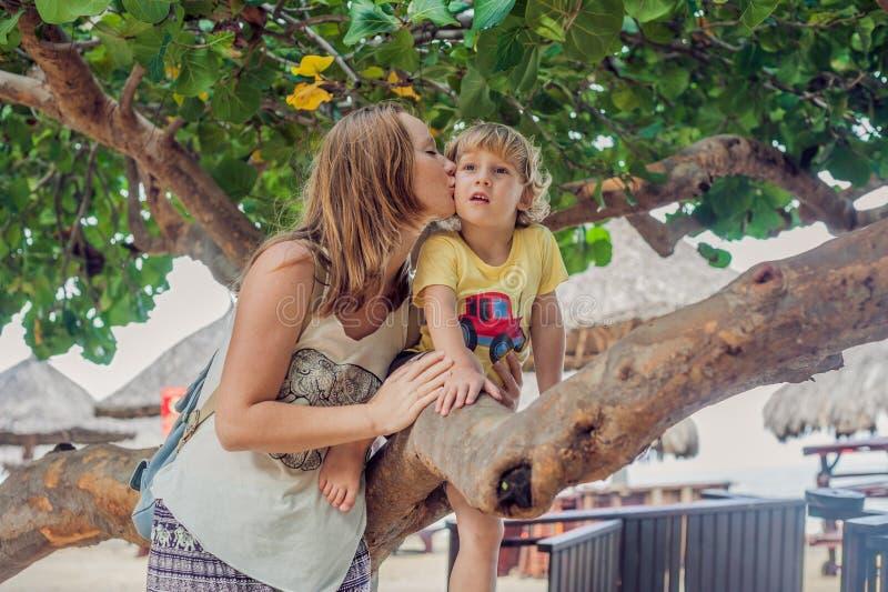 Glückliche liebevolle junge Mutter küsst ihren Kleinkindsohn auf dem Weg stockbild